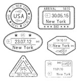 Passport stamps. Arrival to New York, USA. Black set of ink stamps