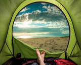 Camping on the beach in summer at sea