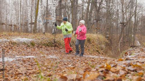 Sprawność fizyczna dla starszych kobiet w jesiennym parku - nordic walking wśród parku jesienią