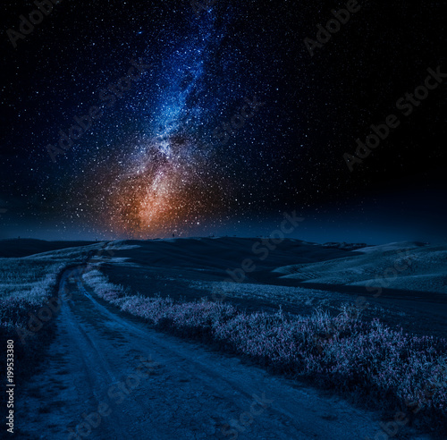 Keuken foto achterwand Toscane Stunning milky way, road and fields in Italy