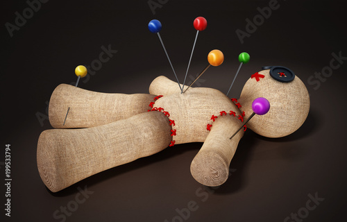 Voodoo doll with needles isolated on black background