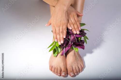 Fotobehang Pedicure Manicure and pedicure