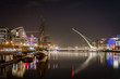 Beautiful night view of Dublin with water, bridge and buildings. - 199542701