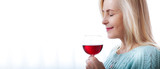 Closeup portrait of female customer drinking red wine with eyes closed. - 199543179