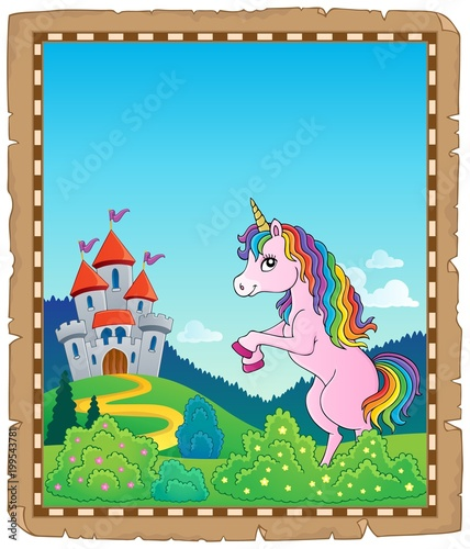 Poster Voor kinderen Parchment with standing unicorn theme 2