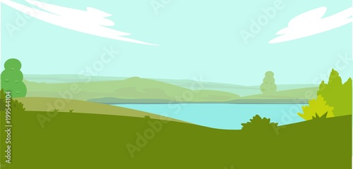 Foto op Plexiglas Lichtblauw Summer landscape with beautiful blue lake and nature view