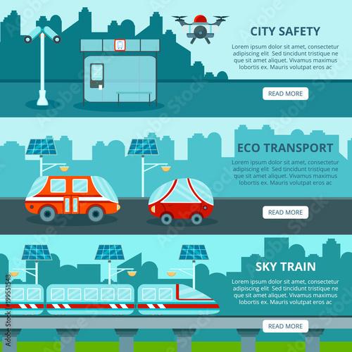 Foto op Plexiglas Lichtblauw Eco Smart City Banners