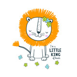 Cute lion. Vector illustration for kids