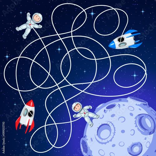 Два космических корабля плавают в открытом космосе вокруг астероида с кратерами. Распутайте шланги и отгадайте, из какого корабля космонавт высадился на астероид? Детская игра лабиринт.
