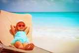 little girl relaxed on summer beach