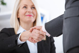 Business handshake. Business handshake and business people concept. Successful Business woman smiling friendly. Selective focus. - 199559116