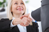 Business handshake. Business handshake and business people concept. Successful Business woman smiling friendly - 199559137
