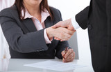 Business handshake. Two business women shake hands with each other to sign a successful deal - 199559163