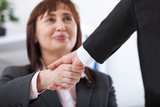 Business handshake. Business handshake and business people concept. Successful Business woman smiling friendly - 199559170