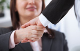 Business handshake. Business handshake and business people concept. Successful Business woman smiling friendly - 199559187