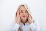Woman Headache isolated. Menopause. Middle aged woman - 199559384