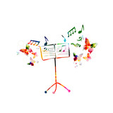 Music colorful background with music stand. Music festival poster. Music stand isolated vector illustration - 199559518