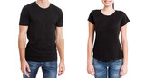 Shirt design and people concept - close up of young man and woman in blank black t-shirt front isolated. - 199559718