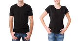 Shirt design and people concept - close up of young man and woman in blank black t-shirt front isolated. - 199559720