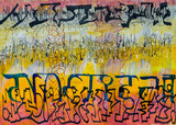 Abstract Calligraphy with Multicolored Background and Asemic Writing. - 199562577