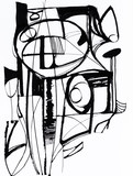 A Monochrome Abstract Caligraphic Design. - 199563309