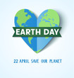 Earth Day. 22 april. Save our planet. Vector abstract heart with Earth globe  - 199564728