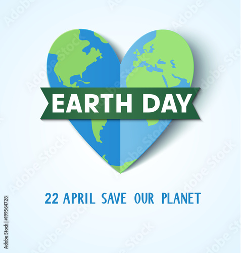 Earth Day. 22 april. Save our planet. Vector abstract heart with Earth globe