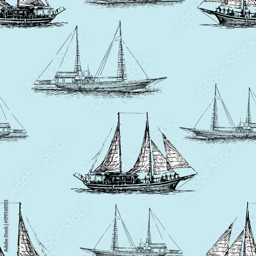 Fototapeta Seamless background of the sailing ships