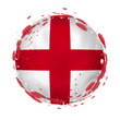 Round grunge flag of England with splashes in flag color.
