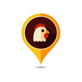 Chicken vector pin map icon. Animal head