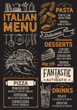 Pizza restaurant menu. Vector food flyer for bar and cafe. Design template with vintage hand-drawn illustrations. - 199576503