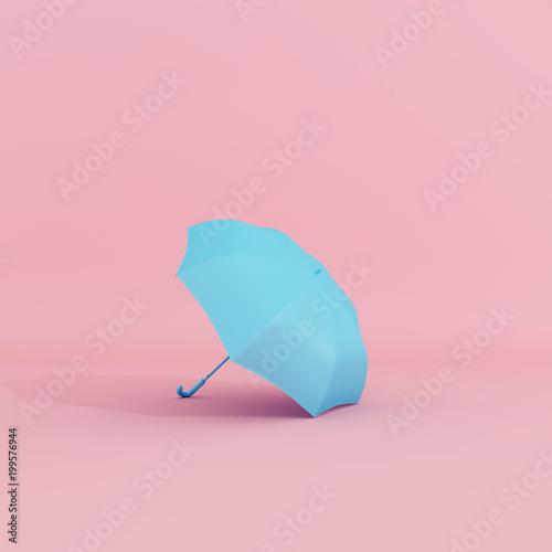 Blue umbrella on pastel pink background minimal concept. 3d © aanbetta