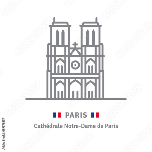 Paris icon with Notre-Dame cathedral and French flag - 199578557