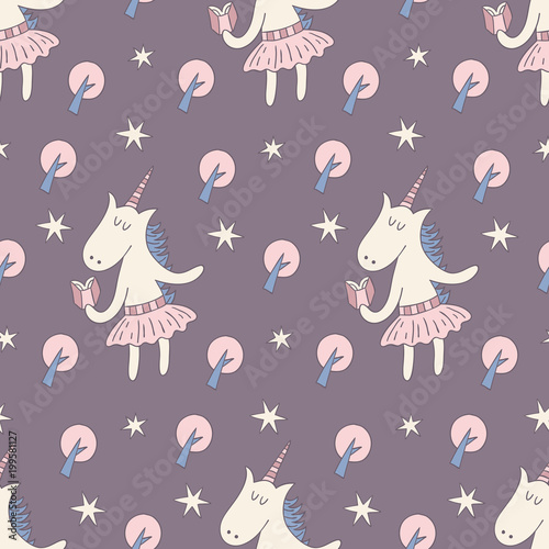 Cotton fabric Seamless pattern with cute unicorns