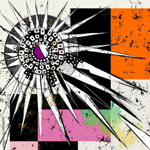 Aluminium Abstract met Penseelstreken Vector art with abstract summer sun, squares, paint strokes and splashes
