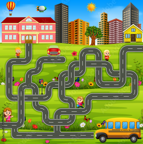 Fototapeta Maze game template with school bus