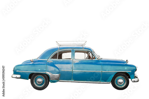 Blue, old and american car with trunk isolated