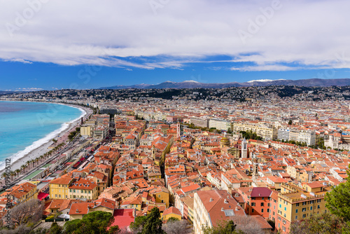 Fotobehang Nice Cote d'Azur, France. Beautiful panoramic aerial view city of Nice, France. Luxury resort of French riviera. Front view of the Mediterranean sea, bay of Angels