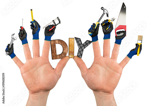 abstract diy handyman, concept two hands with working gloves wooden letter and tools on fingers isolated on white background
