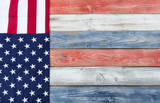 US Flag and national colors on rustic wooden planks for holiday background - 199615358