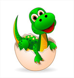 Cute dinosaur-baby.Small green dinosaur who just hatched from the egg
