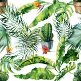 Seamless watercolor illustration of tropical leaves, dense jungle and cacti art. Pattern with tropic summertime motif and cactus illustration can be used as print, home or garden decoration - 199619577