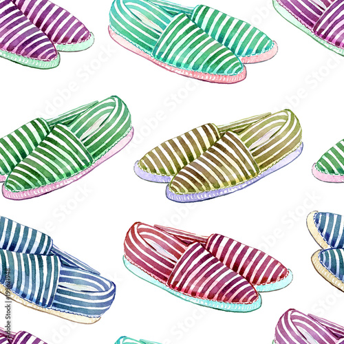 Colorful striped espadrilles with white sole,  hand painted watercolor illustration, seamless pattern on white background - 199621948