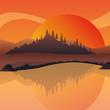 sunset landscape at the lake, colorful design. vector illustration