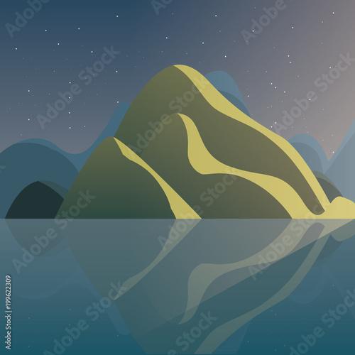 zimowy krajobraz z górami w nocy, kolorowy design. ilustracji wektorowych