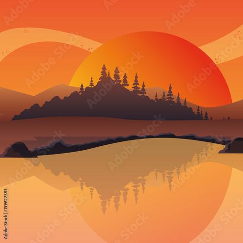 sunset landscape at the lake, colorful design. vector illustration