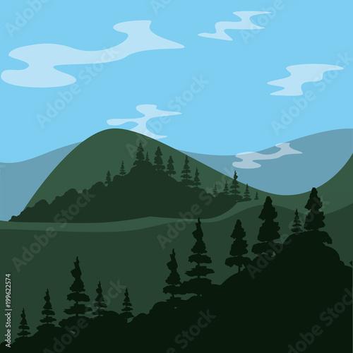 Foto op Plexiglas Pool mountains landscape with trees, colorful design. vector illustration