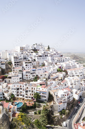 typical andalusian white village on mountain in Spain - 199623532