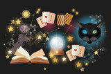 Astrology and alchemy. Prediction of the future, playing cards of Tarot, mystical cat. Fortune telling vector. Open magic book - 199649531