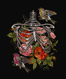 Gothic embroidery skeleton ribs, birds and flowers. Fashionable clothes, t-shirt design, beautiful flowers, renaissance style vector. Embroidery human rib cage with red roses and titmouse - 199649911